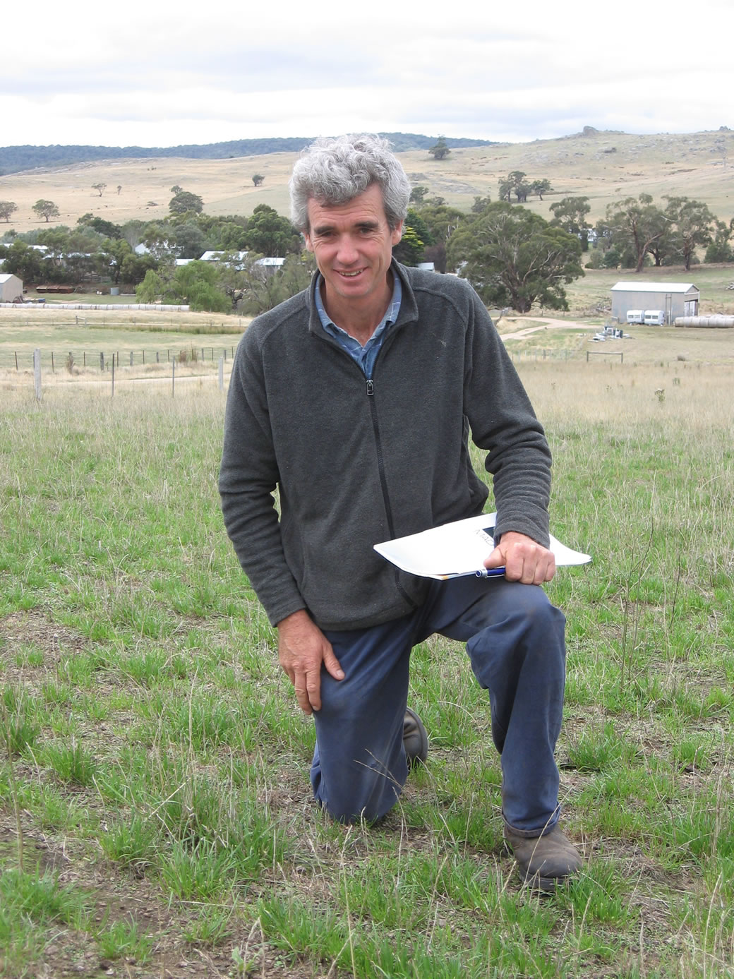 Michael O'Sullivan at the EverGraze Supporting Site assessing the Banquet II perennial ryegrass pasture.
