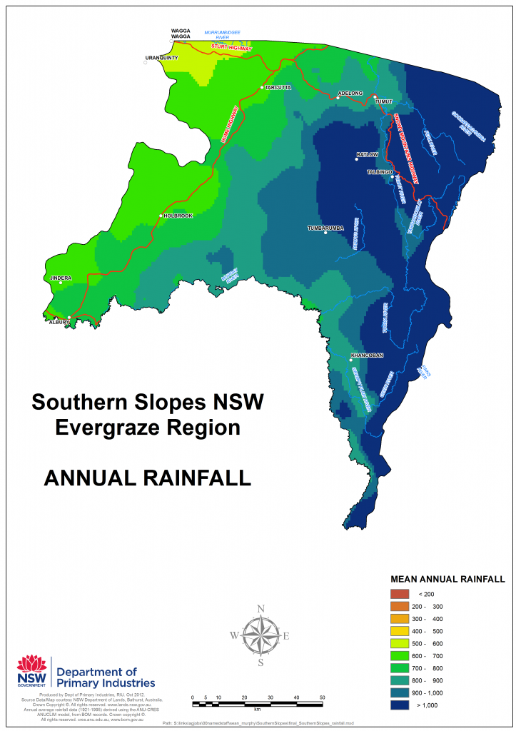 Geographical distribution of rainfall on the Southern Slopes NSW
