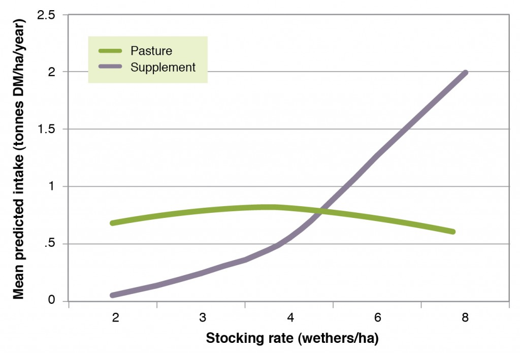 Figure 1. Mean annual intake from native pasture and supplement (tonnes DM/ha.yr) over a 99-year period (1906-2004) at stocking rates of 2, 3, 4, 6 and 8 continuously grazed wethers/ha.