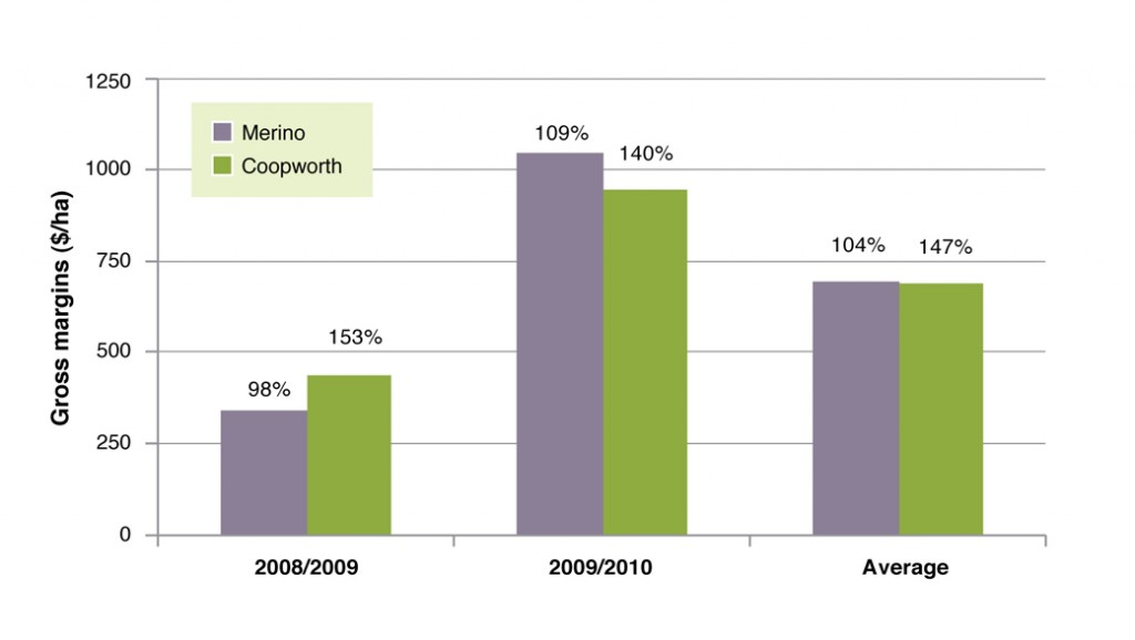 Figure 3. Gross margins for Coopworth/composite system compared to Merino terminal from 2008-2010.  Figures are weaning percentages (lambs weaned per pregnant ewe lambed).