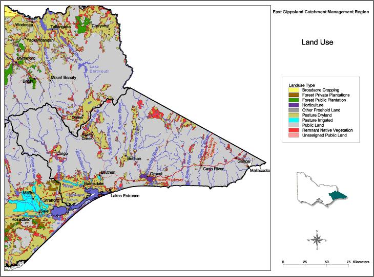 Figure 1. Land use in East and Central Gippsland