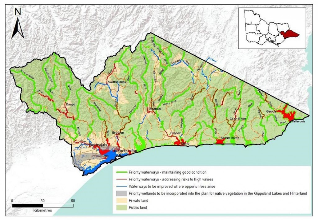 Map of the East Gippsland region's priority waterways (Source: East Gippsland Draft Waterway Strategy 2014 – 2021)