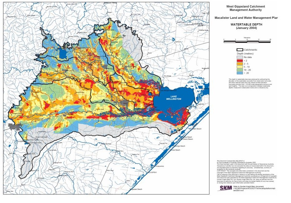Depth to watertable across the West Gippsland Catchment Management Authority plan area