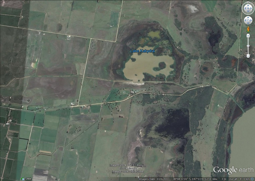 Salt affected land adjacent to Lake Kakydra and lake Wellington due to capillary rise. Source Google Earth