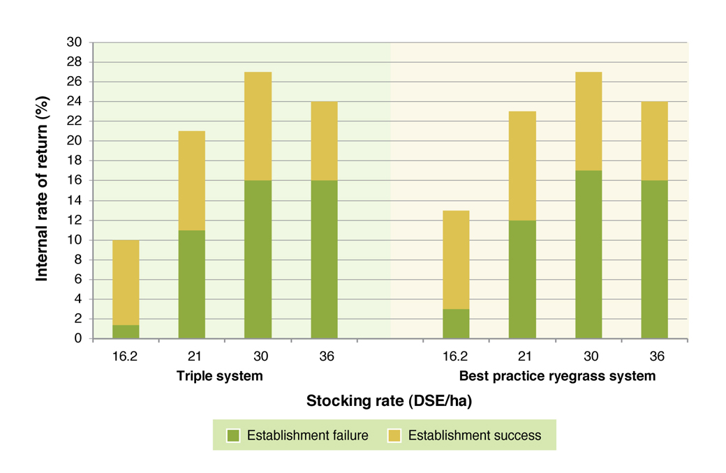 Figure 3. Internal rate of return (%) results of the two EverGraze pasture systems adapted to 10% of a representative farm.