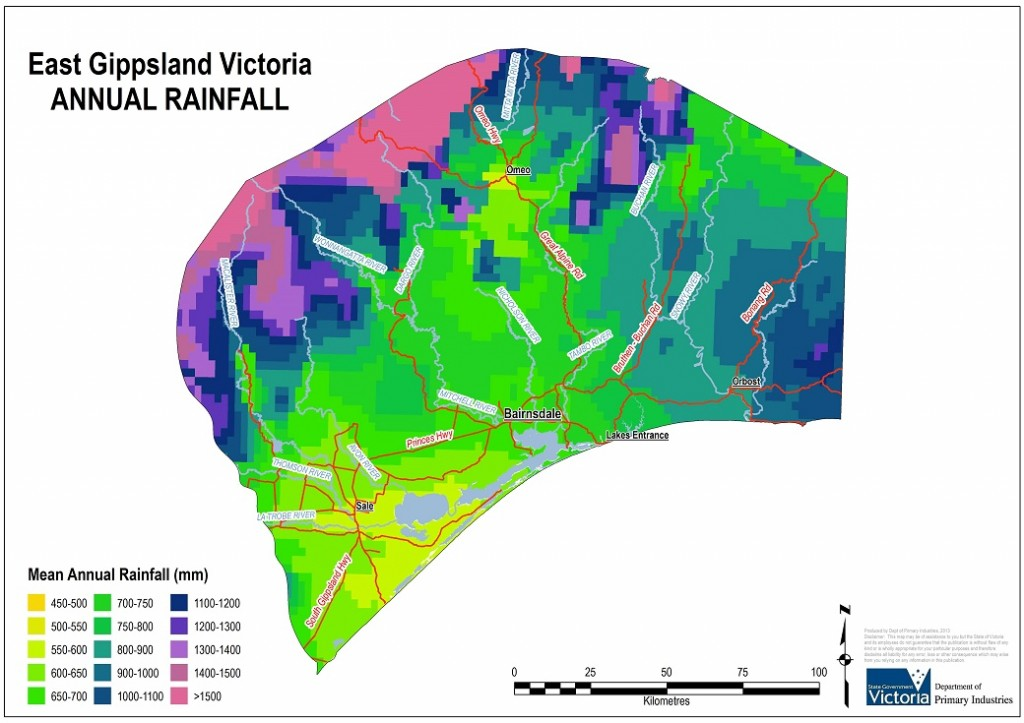 Figure 1. East Gippsland Annual Rainfall