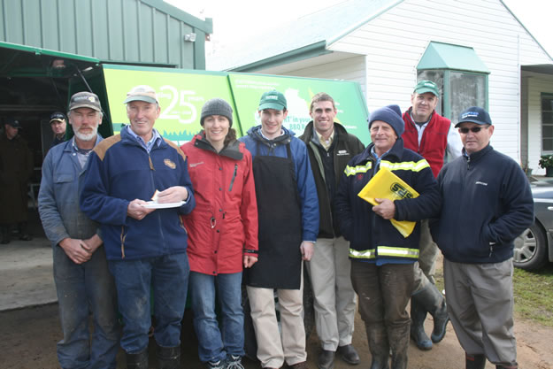 From left, Keith Dean, Kate Sargeant, HiFert representative, Rob Ryan (Stevens Pasture Seeds), Andrew Walta, HiFert Representative, Wrightson Seeds Representative