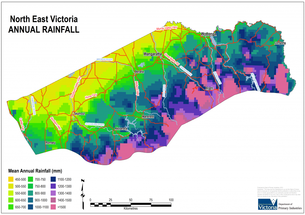 Geographical distribution of annual rainfall in North East Victoria