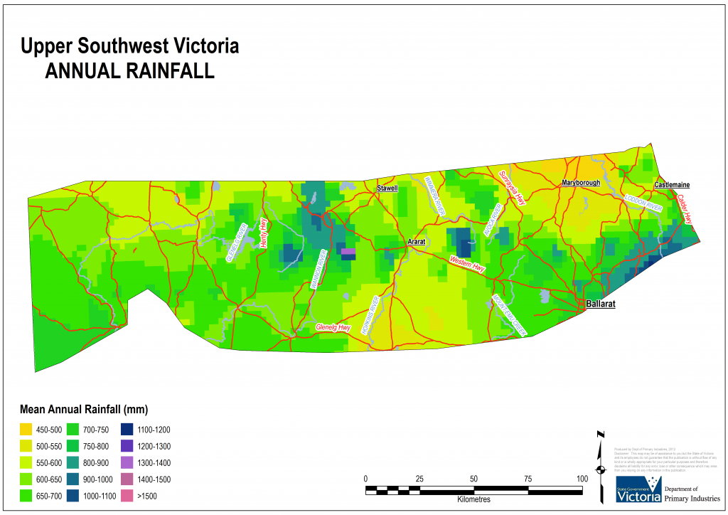 Figure 3. Geographical distribution of rainfall in South West Victoria (Upper)