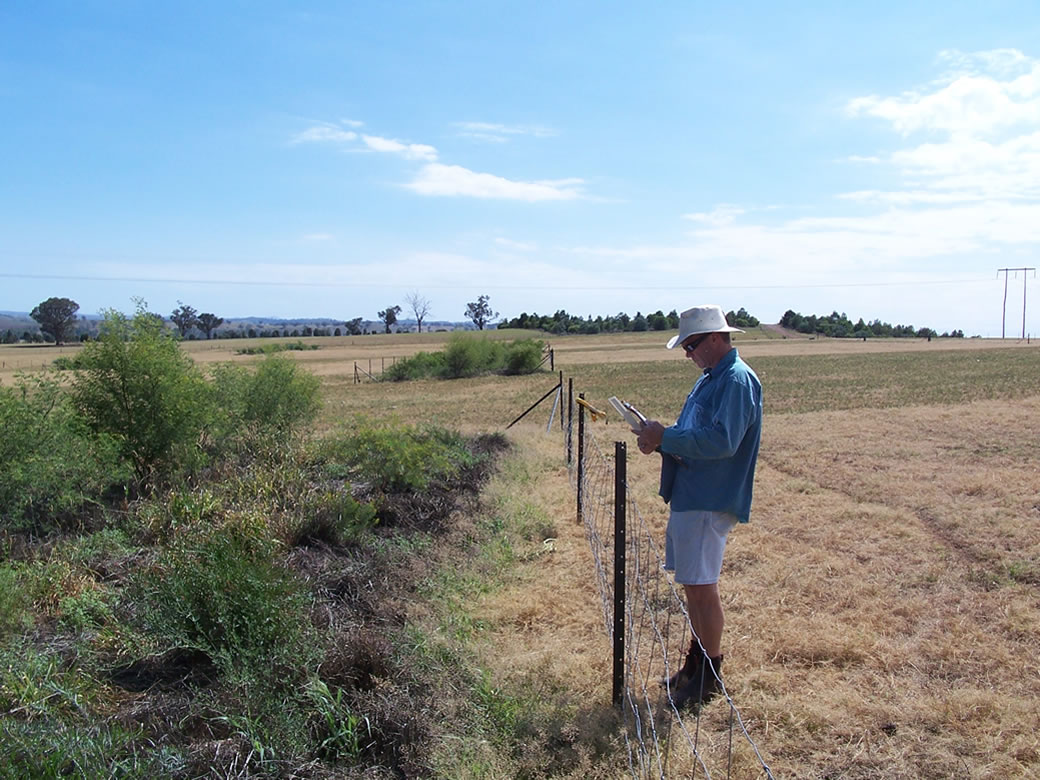 Ian Hume measures soil moisture under the shrubs and adjacent annual pastures at Wagga Wagga EverGraze Proof Site.