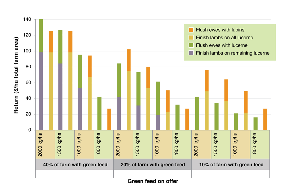 Figure 3. Effect of different green feed on offer (kgDM/ha) on return ($/ha farm area) from flushing ewes and finishing lambs on either green feed or lupins. See Table 2 for assumptions used in this analysis.