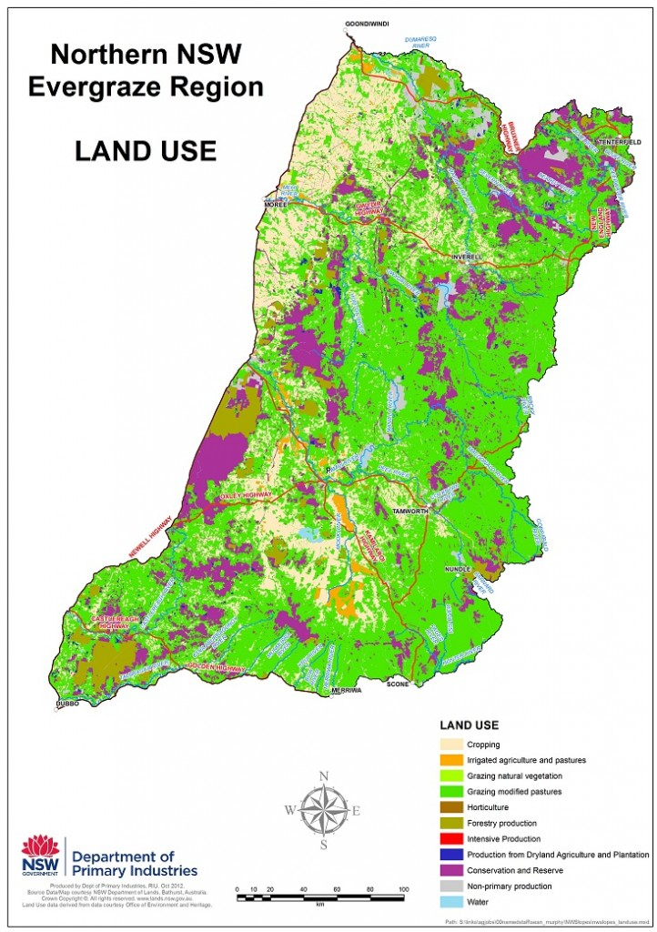 Figure 1. Primary land use in the Northern NSW EverGraze region.