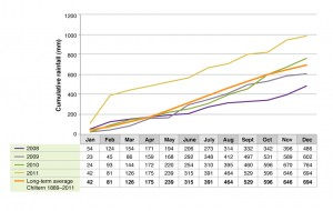 Cumulative rainfall at Chiltern EverGraze Proof Site.