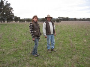 Gary McLarty and Chris Aldridge looking at Paddock 3, the autumn 2010 sown phalaris, in June 2011.