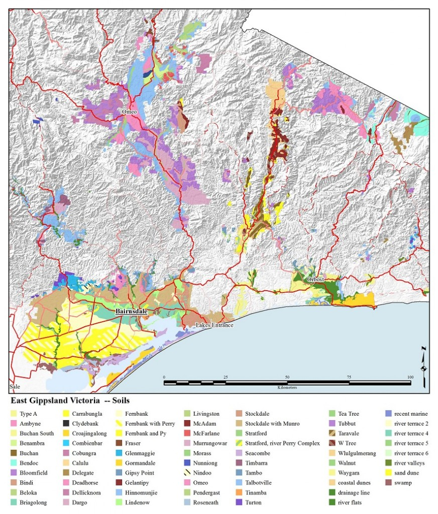 Figure 1. Soils of East Gippsland (source: Department of Environment and Primary Industries Victoria).